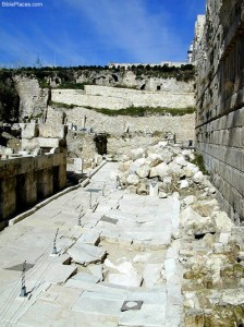 Stones thrown down by the Roman destruction literally dented the Herodian streets below.
