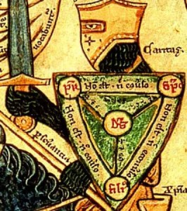 "Detail of a manuscript illustration depicting a knight carrying the ""Shield of the Trinity."" (Wikpedia)"