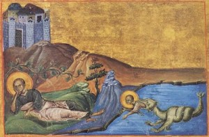 An old Greek icon picturing the Jonah tale