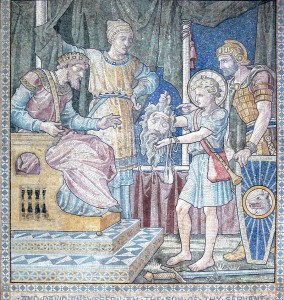 English mosaic with David showing Saul the head of Goliath