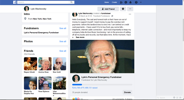 Wachovsky announced on a Facebook fundraiser that he was bankrupt