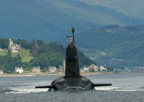 """A Trident missile armed Vanguard class ballistic missile submarine leaving its base in the Firth of Clyde. Photo: <a href=""""http://www.flickr.com/photos/bodgerbrooks/1130008623/"""">bodgerbrooks</a>, CC BY-SA 2.0, $3"""