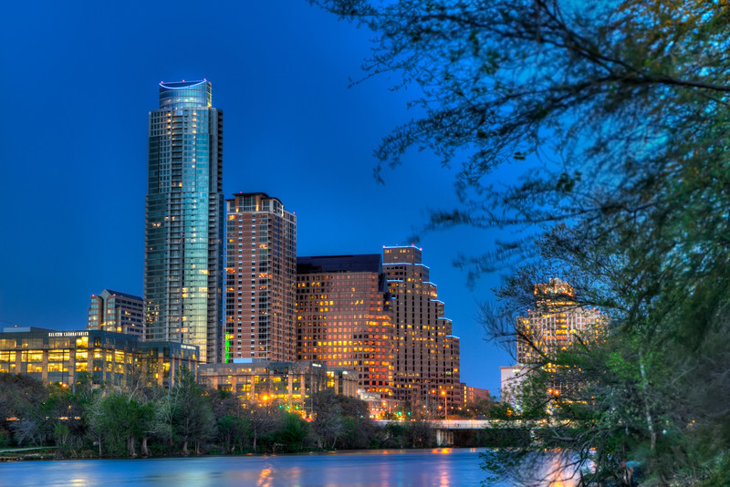 This is just a small part of the Austin, Texas skyline just after sunset. The accumulated light during the time exposure gives the sky a slightly brighter blue. Photo by Tim Stanley Photography.