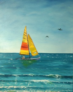 Fort Myers Beach Sailboat Painting 16x20