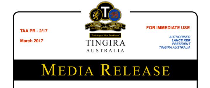 STONEHAVEN – TINGIRA'S INAUGURAL AWARD
