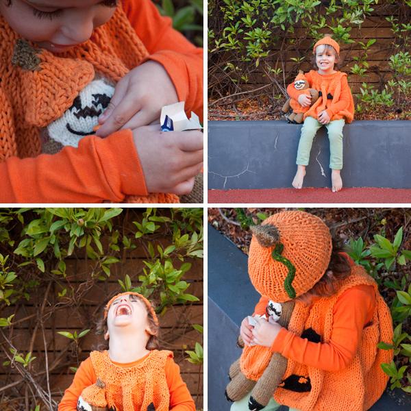 Knitted pumpkin costume