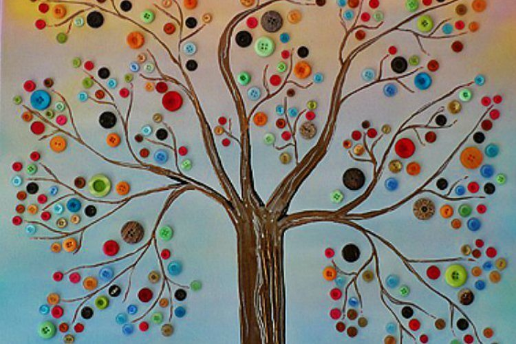 Blue Pearl Over Black Paint >> Bring Spring to Your Walls With This 3-D Button Tree