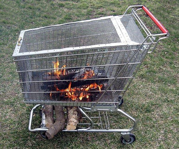 Shopping Cart Fire Pit