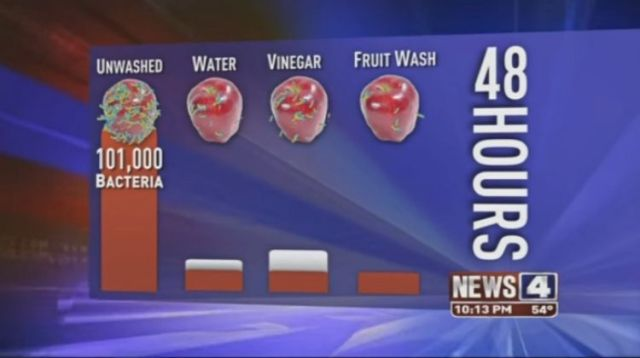 Levels of bacteria on apples after different washing methods