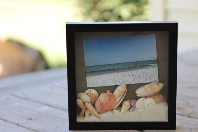 Sand and seashell photo shadow box