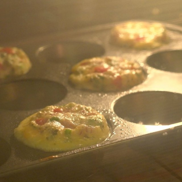 Grab-n-go omelettes baking in the oven