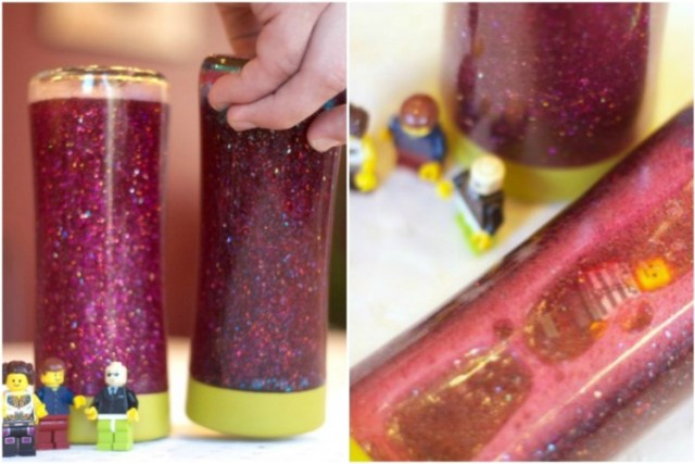 Make a calm down jar with glitter, glue, and a toy from the Dollar Store