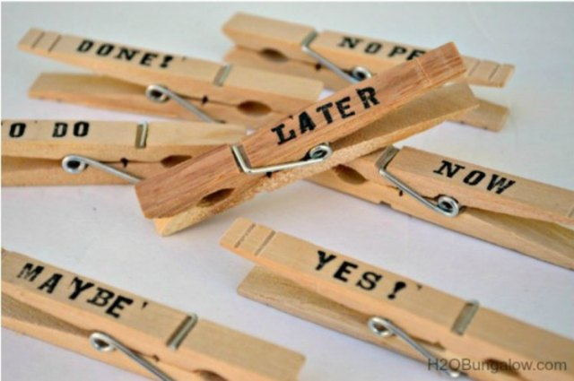 Organize papers with Dollar Store clothespins with words written on them