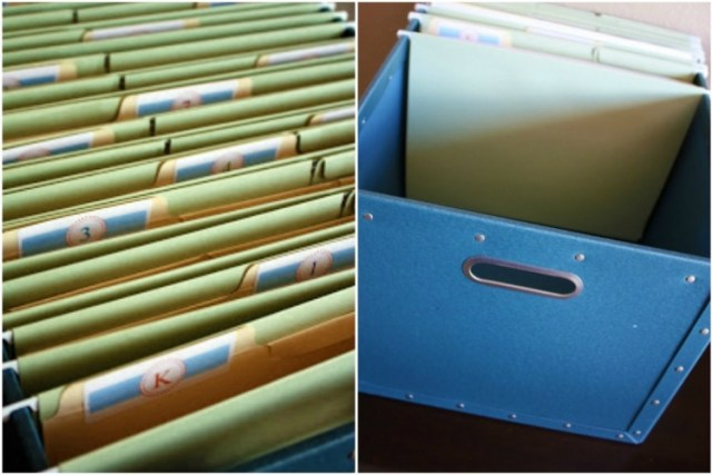 Use Dollar Store file boxes and folders to save schoolwork