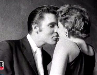 Iconic photo of Elvis trying to sneak a kiss