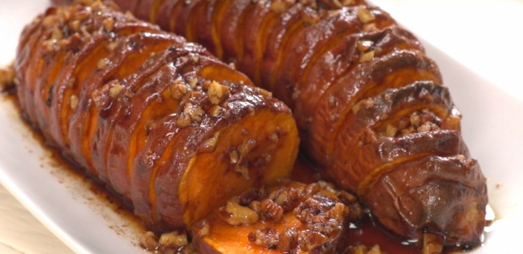Close-up of hasselback maple pecan sweet potatoes