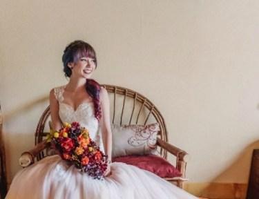 Dip-dyed wedding dress bridal trend.