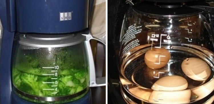 Using a coffee maker to boil veggies.