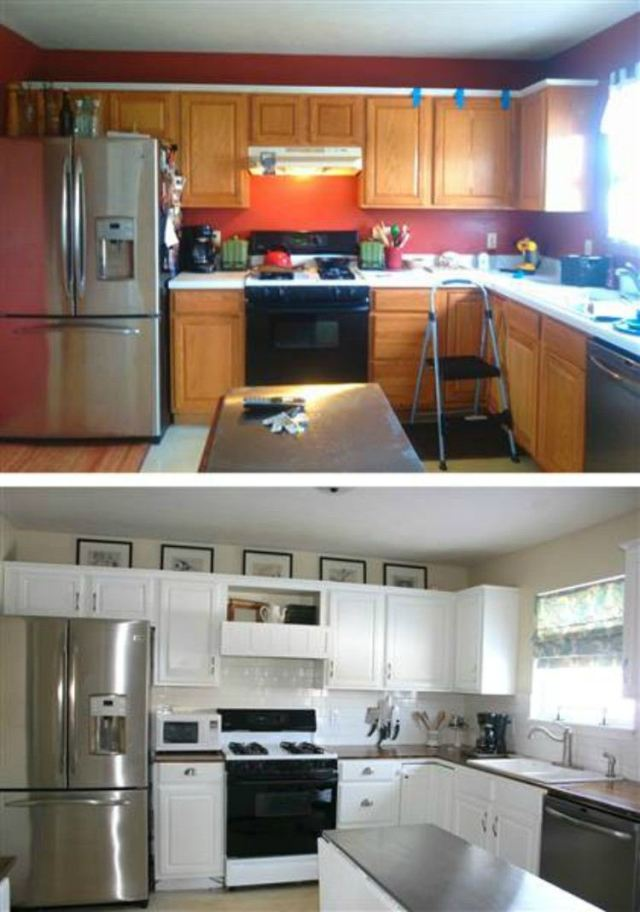 Before and after the cheap kitchen renovation.