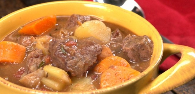 Close up of bowl of beef stew made in slow cooker