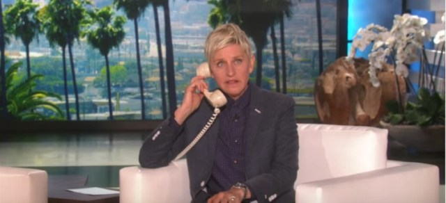 Ellen DeGeneres on the phone