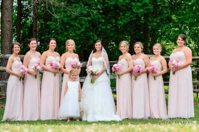 Matching bridal party.