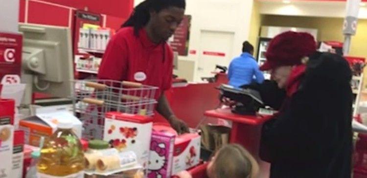 Young man waiting on Target customer.
