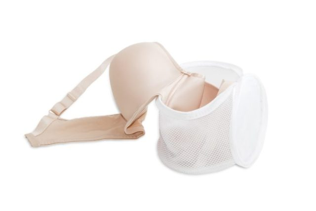 nude colored bra in laundry bag