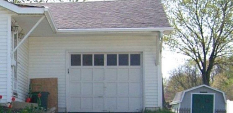 view of white garage door