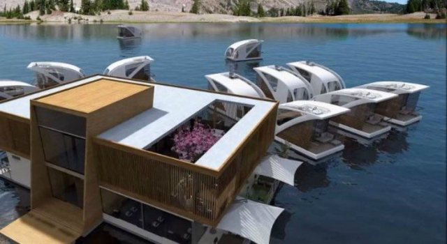 Entire floating modular hotel.