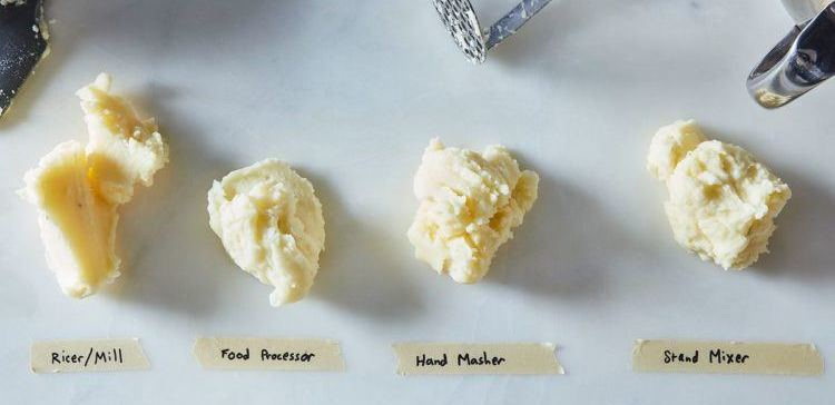 Testing four different potato mashing techniques.