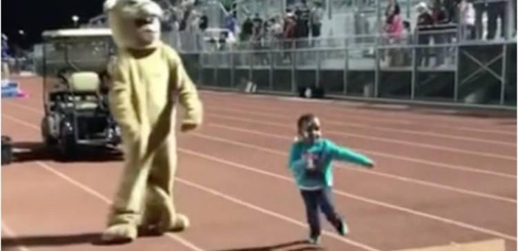 Anessah runs from mascot