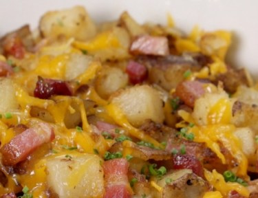 Close-up of bowl of loaded potato hash