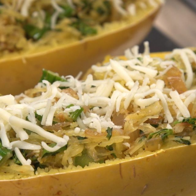 Cheesy Broccolini Spaghetti Squash cheese on top