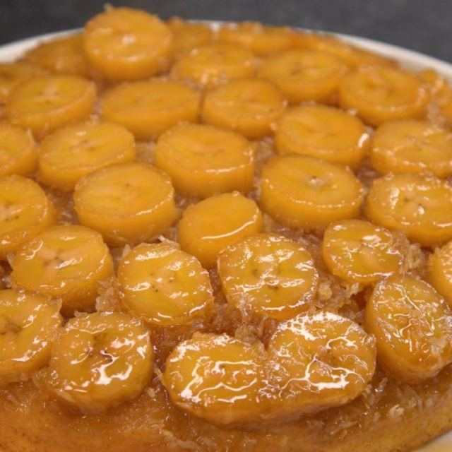 Banana Coconut Upside Down Cake top of cake