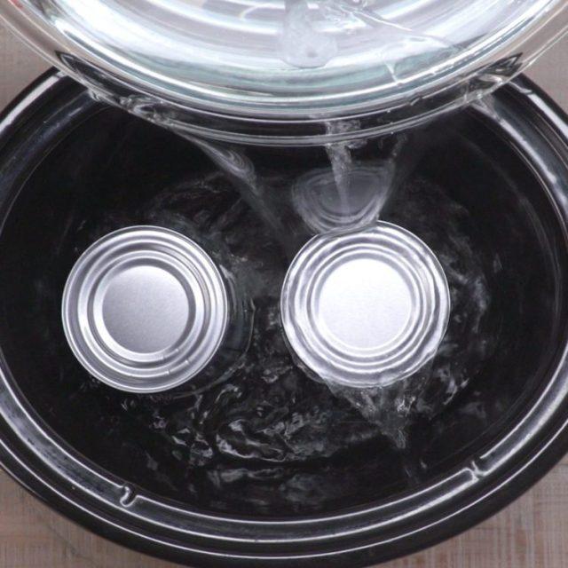 Crock Pot Caramel cans in crock pot