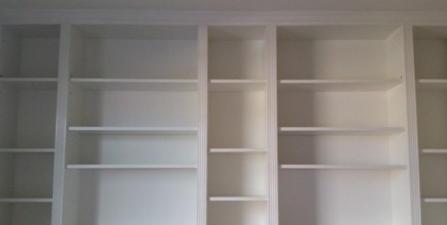Completed bookcase wall.