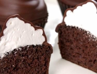 Close-up of hi hat cupcake sliced in half