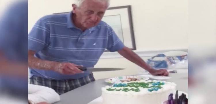 Grandpa reacts to prank cake.