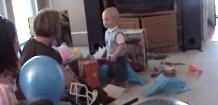 Little boy politely turns down a birthday gift.