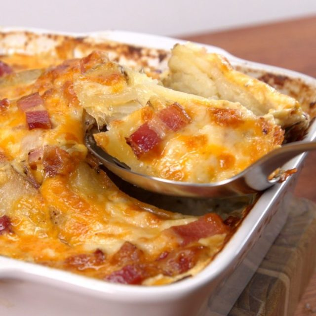 Loaded potato casserole serving