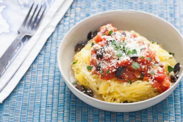 Roasted Spaghetti Squash with Marinara and Black Olives