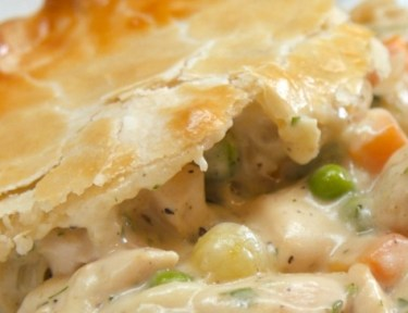 Close-up of serving of chicken pot pie