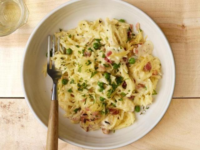 Spaghetti Squash Alfredo with Pancetta and Peas