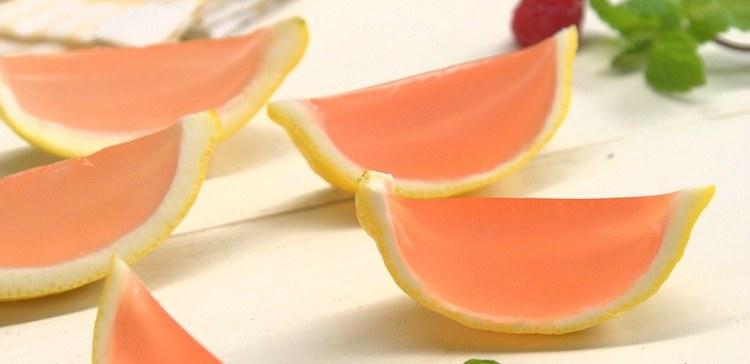 Close-up of homemade pink lemonade Jell-O shots