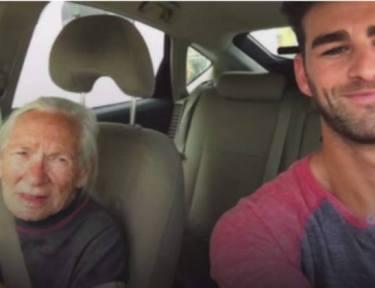 Salvatore and Cook take a selfie in a car
