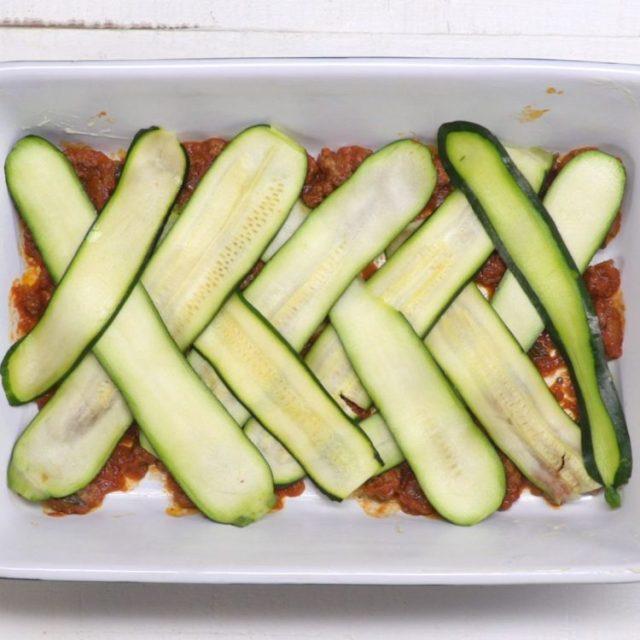 Zucchini Lasagna criss-cross layered zucchini