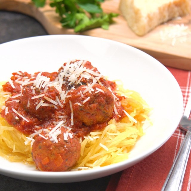 close-up slow cooker spaghetti squash and meatballs plated