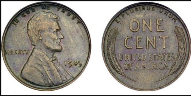 front and back view of 1943 penny