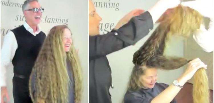 Woman gets her long hair cut for the first time.